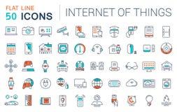 Fije la línea plana Internet del vector de los iconos de cosas Fotografía de archivo libre de regalías
