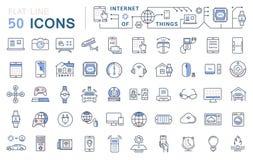 Fije la línea plana Internet del vector de los iconos de cosas Imagenes de archivo