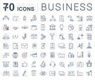 Fije la línea plana negocio del vector de los iconos Fotografía de archivo libre de regalías