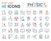 Fije la línea plana Physic del vector de los iconos Imágenes de archivo libres de regalías
