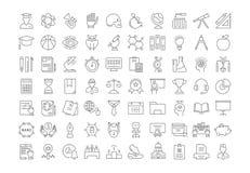 Fije la línea plana universidad del vector de los iconos Imágenes de archivo libres de regalías