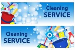 Fije la limpieza del servicio de las banderas Plantilla del cartel para la limpieza de la casa Foto de archivo libre de regalías