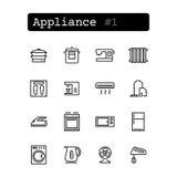 Fije la línea iconos Vector Compras, dispositivo Fotografía de archivo