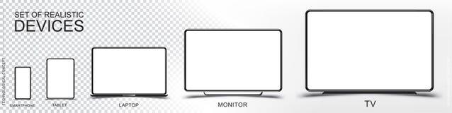 Fije la maqueta de dispositivos realistas Smartphone, tableta, ordenador portátil, monitor y TV en un fondo transparente y blanco stock de ilustración