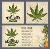 Fije la marijuana de los carteles de la plantilla Grabado del vector del color del vintage ilustración del vector