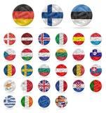 Fije la moneda euro con las banderas Imagen de archivo libre de regalías