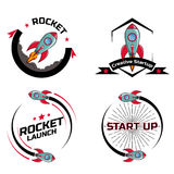 Fije la nave del cohete de espacio del logotipo libre illustration
