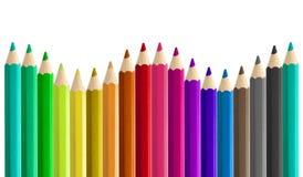 Fije la onda de formación inconsútil coloreada del arco iris de los lápices de lado a lado aislada Fotos de archivo libres de regalías
