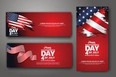 Fije la plantilla del dise?o de la bandera Cuarto del Día de la Independencia de julio, ejemplo del vector libre illustration