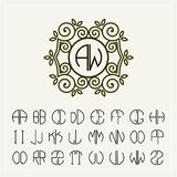 Fije la plantilla para crear los monogramas de dos letras Imagen de archivo
