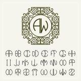 Fije la plantilla para crear los monogramas de dos letras Foto de archivo
