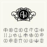 Fije la plantilla para crear los monogramas de dos letras Imágenes de archivo libres de regalías