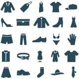 Fije la ropa y los accesorios de los iconos del vector. Fotos de archivo