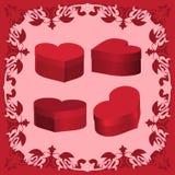 Fije a la tarjeta del día de San Valentín 3D de las cajas Fotos de archivo libres de regalías