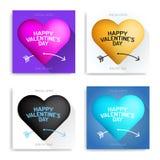 Fije la tarjeta del día de San Valentín \ 'el negro de lujo de la tarjeta de felicitación del día de s, rosa, oro, azul ilustración del vector