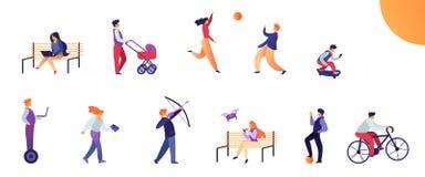 Fije las actividades para la gente joven en vida cotidiana libre illustration