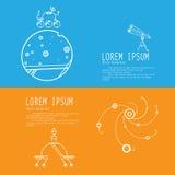 Fije las banderas de la exploración espacial stock de ilustración