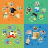 Fije las banderas de la tecnología en línea de Internet Imágenes de archivo libres de regalías