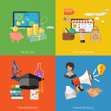 Fije las banderas de la tecnología en línea de Internet Imagenes de archivo