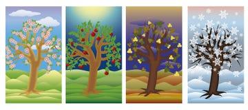 Fije las banderas del árbol de las estaciones, vector Imagen de archivo