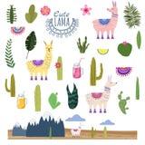 Fije las bebidas de los cactus de Lama Alpaca y decorativo Colección de elementos para la decoración, vector, ejemplo, aislado, l libre illustration