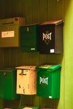 Fije las cajas en la ciudad Bergen el 25 de julio de 2014 en Noruega Imágenes de archivo libres de regalías