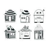 Fije las casas blancos y negros del esquema del bosquejo adentro Foto de archivo libre de regalías