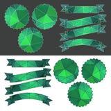 Fije las cintas y las etiquetas esmeralda con un modelo poligonal Vector Imagen de archivo