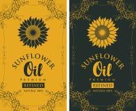 Fije las etiquetas para el aceite de girasol refinado con floritura ilustración del vector