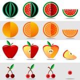 Fije las frutas y las bayas en un fondo blanco stock de ilustración
