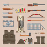 Fije las herramientas de la caza, equipo Foto de archivo