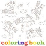 Fije las imágenes del contorno de los unicornios, animales divertidos de la historieta, contorno negro en el libro de colorear bl Foto de archivo