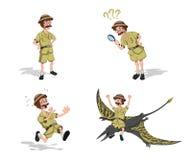 Fije las imágenes del profesor en estilo de la historieta Imagen del cazador en la visión isométrica Dibujo del investigador de l libre illustration