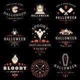 Fije las insignias y las etiquetas del feliz Halloween del vintage Fotografía de archivo