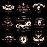 Fije las insignias y las etiquetas del feliz Halloween del vintage Imagen de archivo libre de regalías