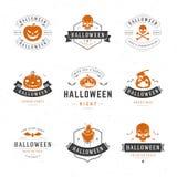 Fije las insignias y las etiquetas del feliz Halloween del vintage Imagenes de archivo