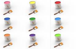 Fije las latas de la pintura pintura color Foto de archivo libre de regalías