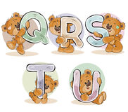 Fije las letras del vector del alfabeto inglés con el oso de peluche divertido libre illustration