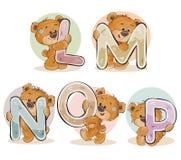 Fije las letras del vector del alfabeto inglés con el oso de peluche divertido stock de ilustración