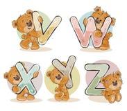 Fije las letras del vector del alfabeto inglés con el oso de peluche divertido ilustración del vector