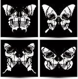 Fije las mariposas a los cráneos. Vector la ilustración. Foto de archivo
