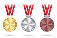 Fije las medallas del oro, de la plata y del bronce con la cinta roja Vector imagen de archivo