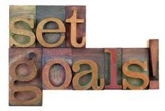 Fije las metas - recordatorio de motivación Foto de archivo