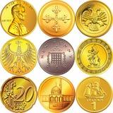 Fije las monedas del dinero de diversos países Imagen de archivo libre de regalías