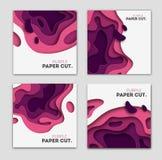 Fije las plantillas de la bandera con formas del corte del papel Diseño abstracto moderno brillante púrpura Ilustración del vecto Foto de archivo libre de regalías