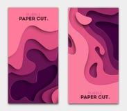 Fije las plantillas de la bandera con formas del corte del papel Diseño abstracto moderno brillante púrpura Ilustración del vecto Imagenes de archivo