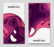 Fije las plantillas de la bandera con formas del corte del papel Diseño abstracto moderno brillante púrpura Ilustración del vecto Fotos de archivo