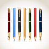 Fije las plumas y los lápices. Vector Fotografía de archivo libre de regalías
