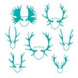 Fije las siluetas de los cuernos para el diseño Imagen de archivo libre de regalías