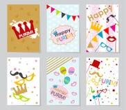 Fije las tarjetas de felicitación judías de Purim del día de fiesta de la plantilla Fotografía de archivo